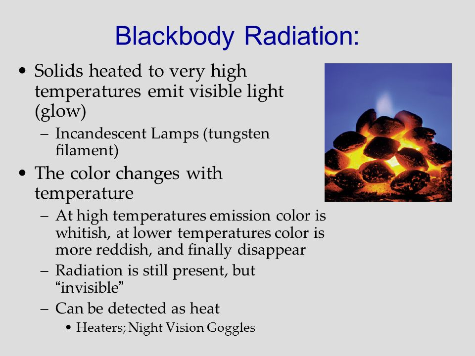 Blackbody Radiation: Solids heated to very high temperatures emit visible light (glow) Incandescent Lamps (tungsten filament)