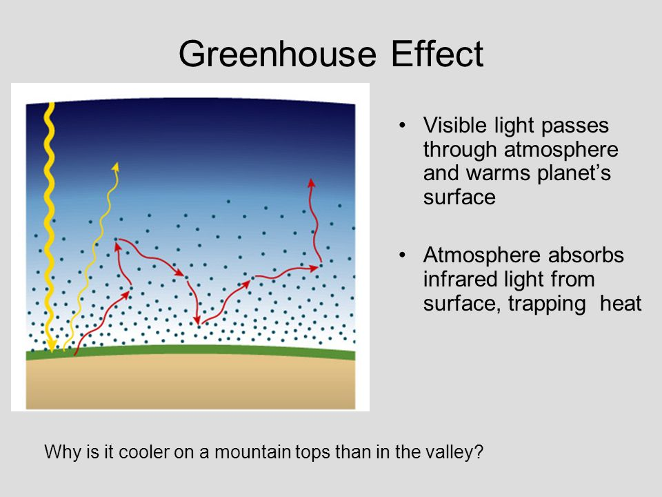 Greenhouse Effect Visible light passes through atmosphere and warms planet's surface. Atmosphere absorbs infrared light from surface, trapping heat.