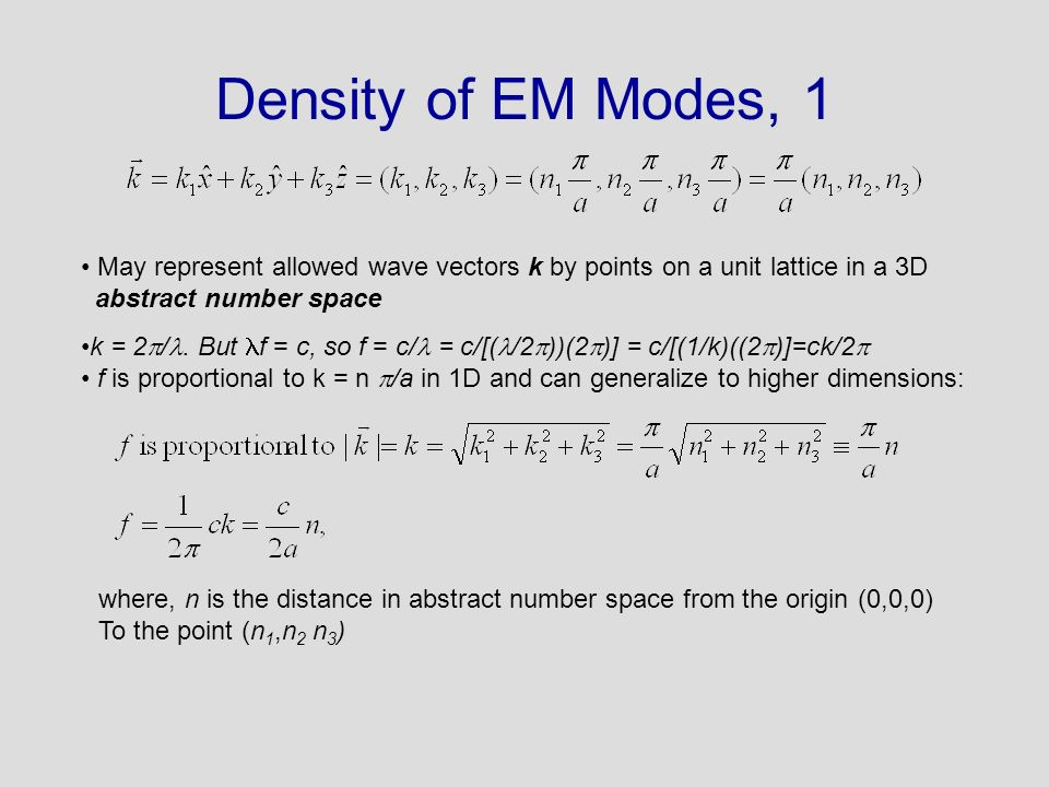Density of EM Modes, 1 May represent allowed wave vectors k by points on a unit lattice in a 3D. abstract number space.