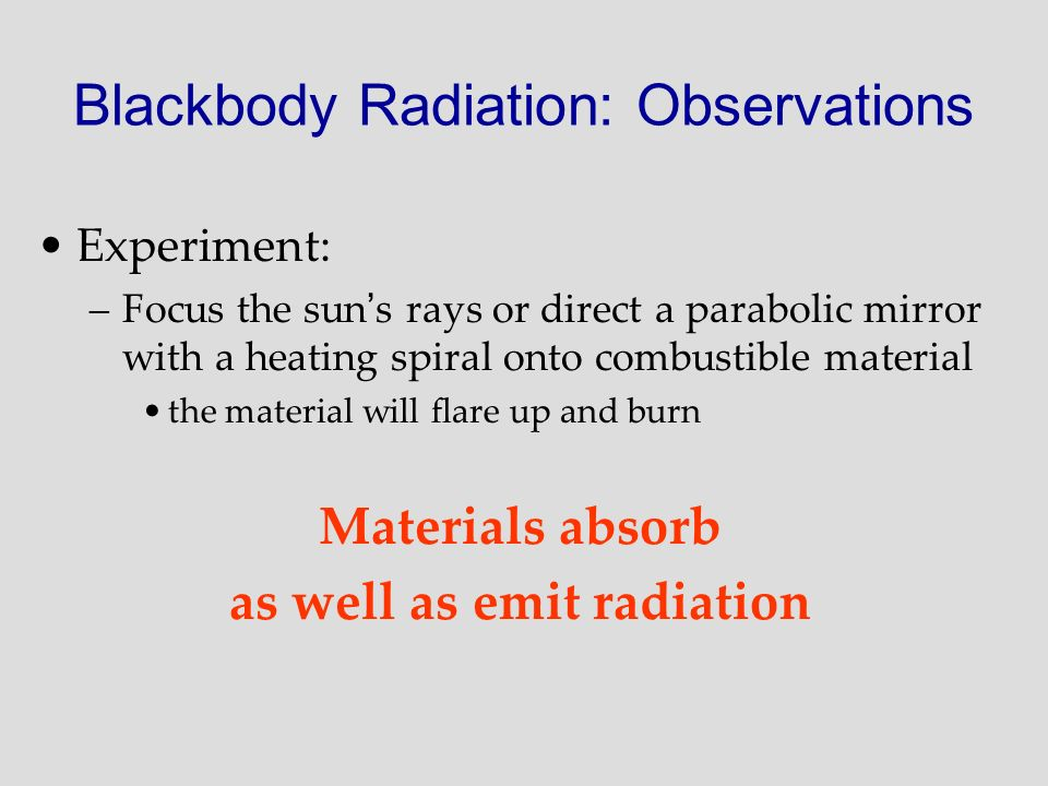 Blackbody Radiation: Observations