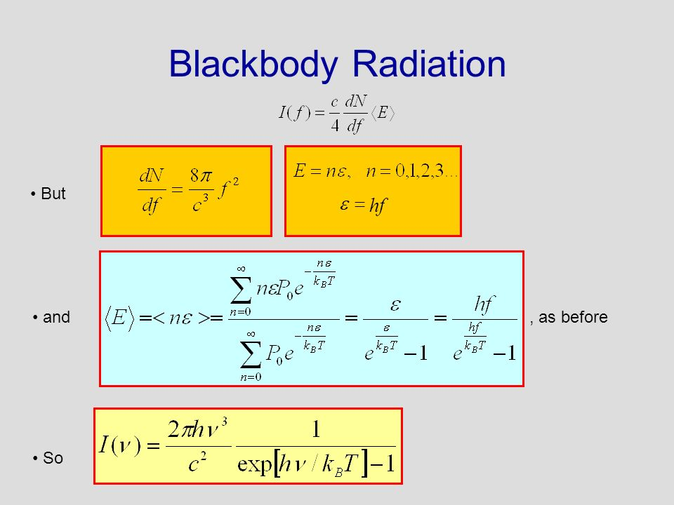 Blackbody Radiation But. hf. = e.