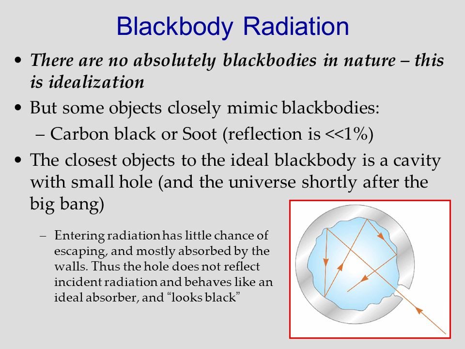 Blackbody Radiation There are no absolutely blackbodies in nature – this is idealization. But some objects closely mimic blackbodies:
