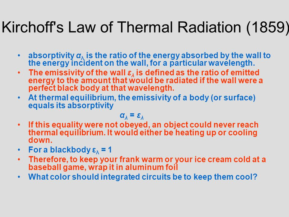 Kirchoff s Law of Thermal Radiation (1859)