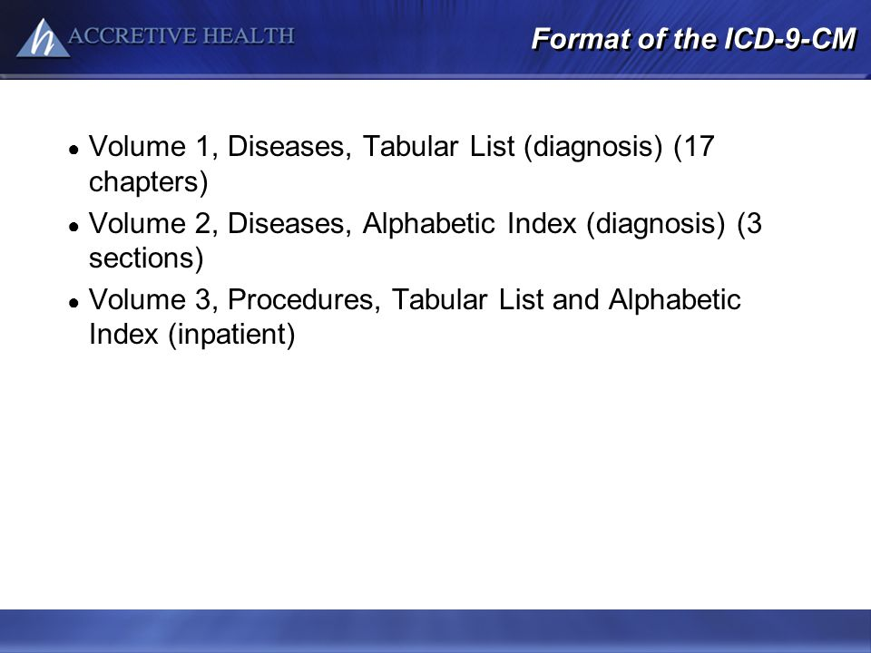 Volume 1, Diseases, Tabular List (diagnosis) (17 chapters)