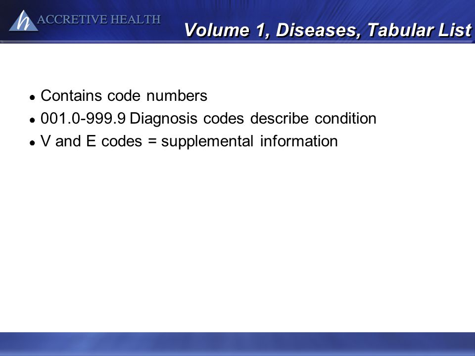 Volume 1, Diseases, Tabular List
