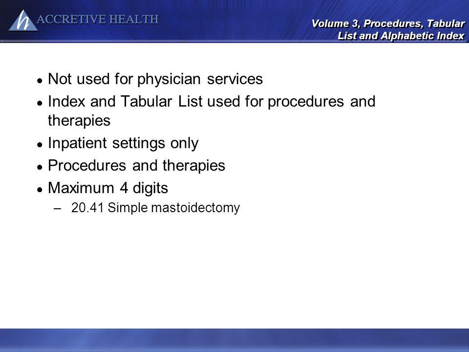 Volume 3, Procedures, Tabular List and Alphabetic Index