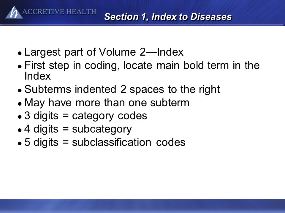 Section 1, Index to Diseases