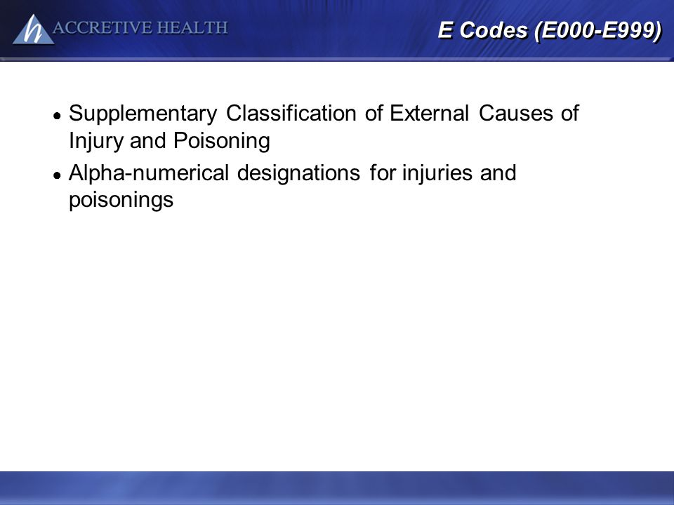 Alpha-numerical designations for injuries and poisonings