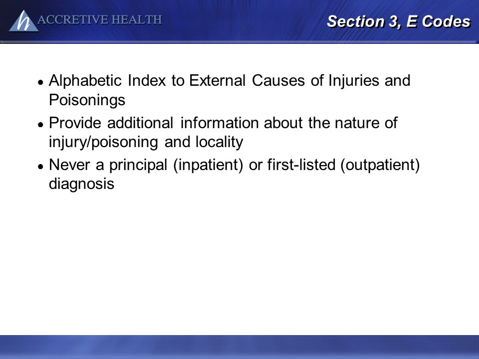 Alphabetic Index to External Causes of Injuries and Poisonings