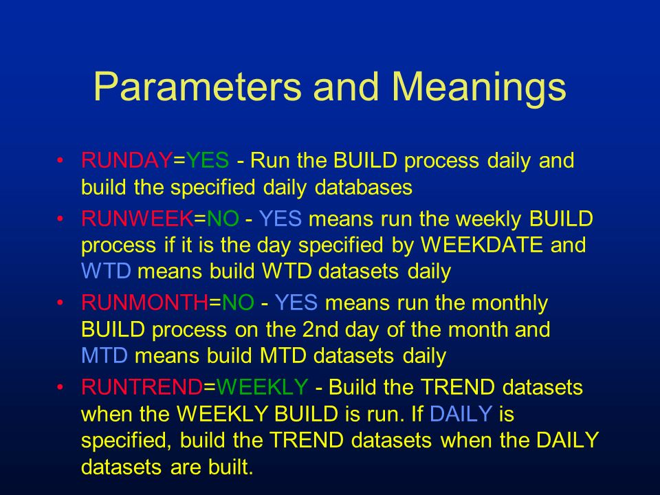 Parameters and Meanings