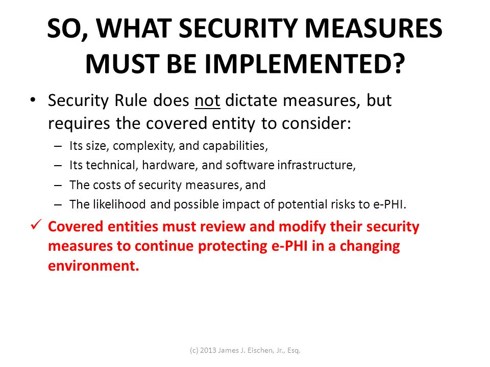 SO, WHAT SECURITY MEASURES MUST BE IMPLEMENTED