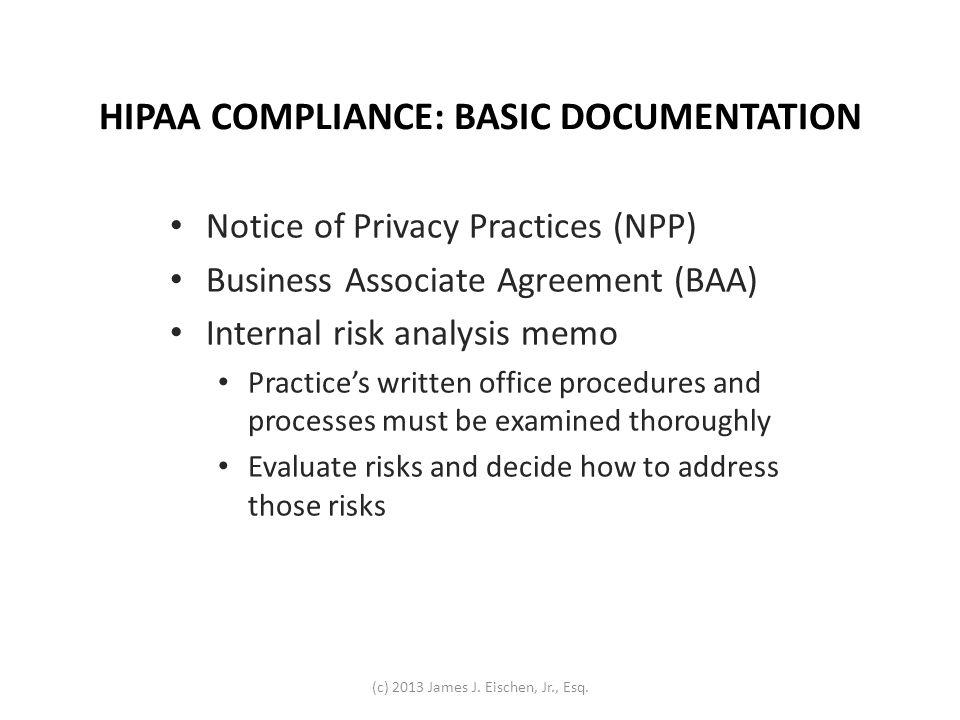 HIPAA COMPLIANCE: BASIC DOCUMENTATION