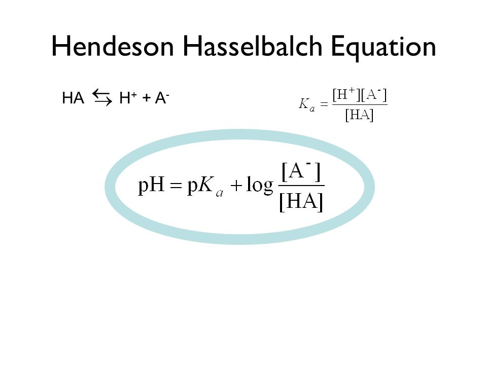 Hendeson Hasselbalch Equation