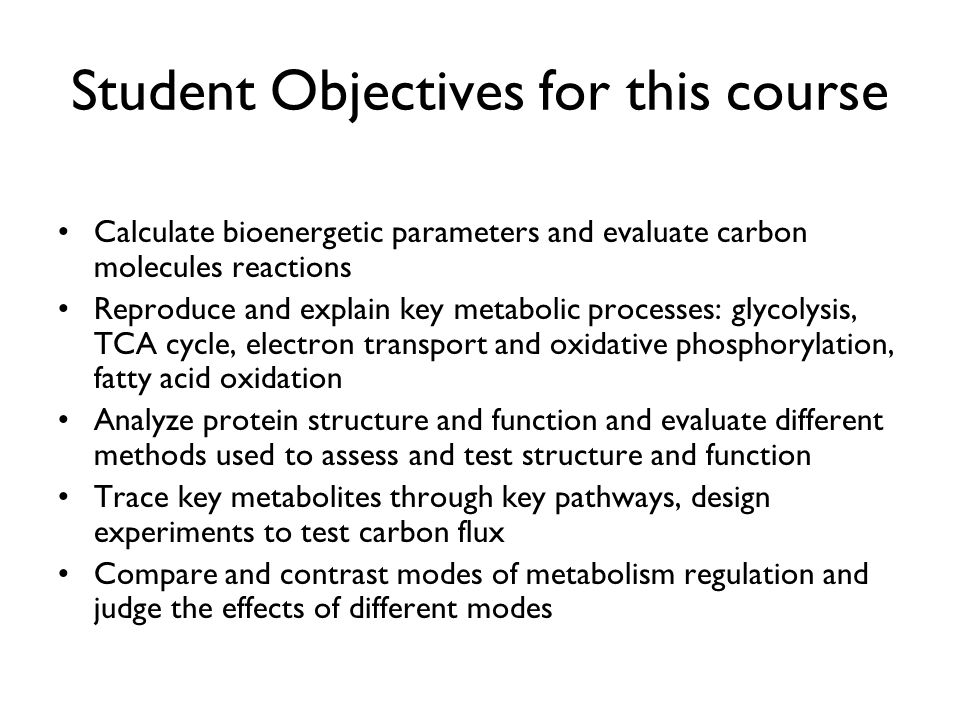 Student Objectives for this course