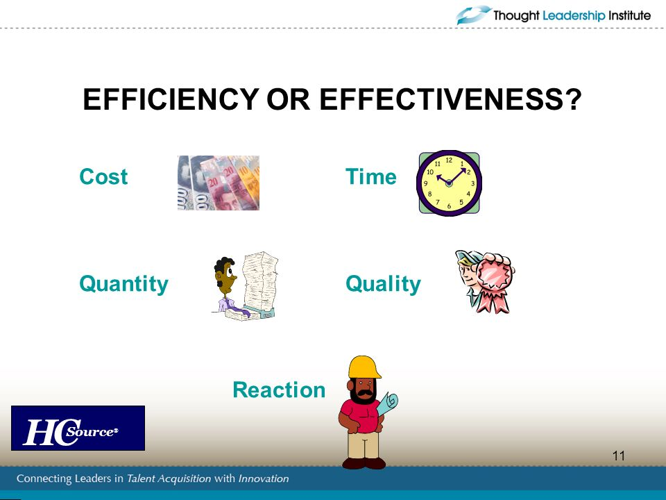 EFFICIENCY OR EFFECTIVENESS