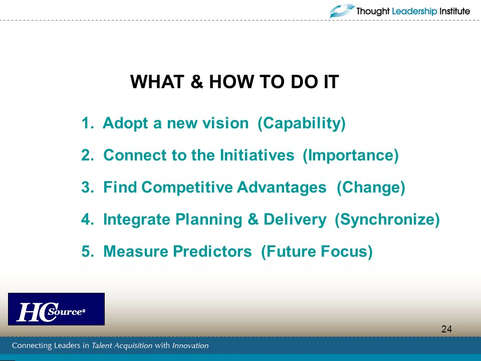 WHAT & HOW TO DO IT 1. Adopt a new vision (Capability)