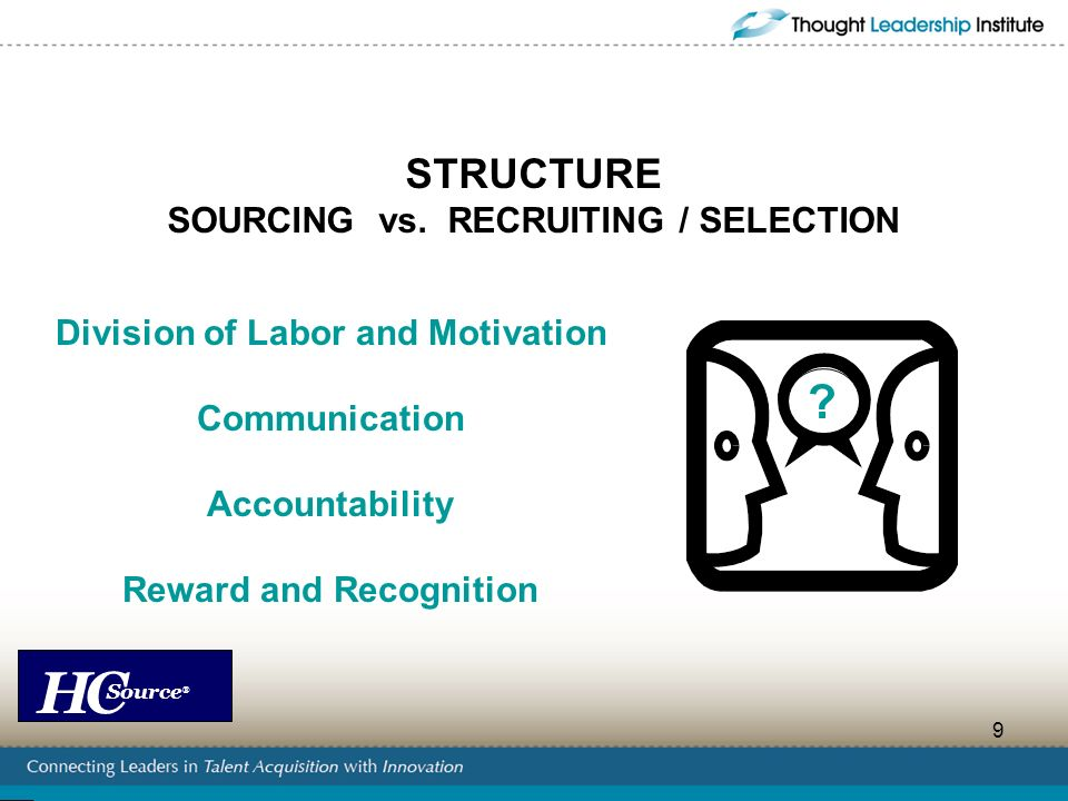 STRUCTURE SOURCING vs. RECRUITING / SELECTION