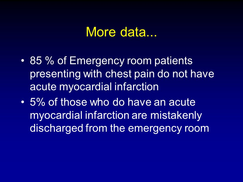 More data... 85 % of Emergency room patients presenting with chest pain do not have acute myocardial infarction.