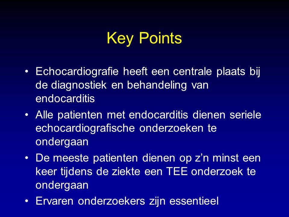 Key Points Echocardiografie heeft een centrale plaats bij de diagnostiek en behandeling van endocarditis.