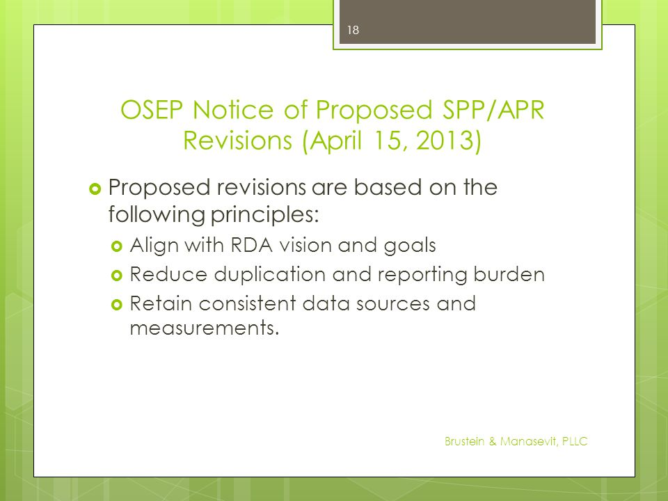 OSEP Notice of Proposed SPP/APR Revisions (April 15, 2013)