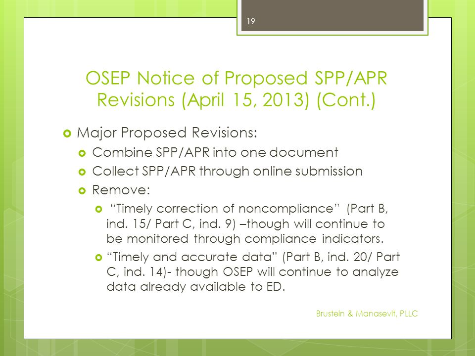 OSEP Notice of Proposed SPP/APR Revisions (April 15, 2013) (Cont.)