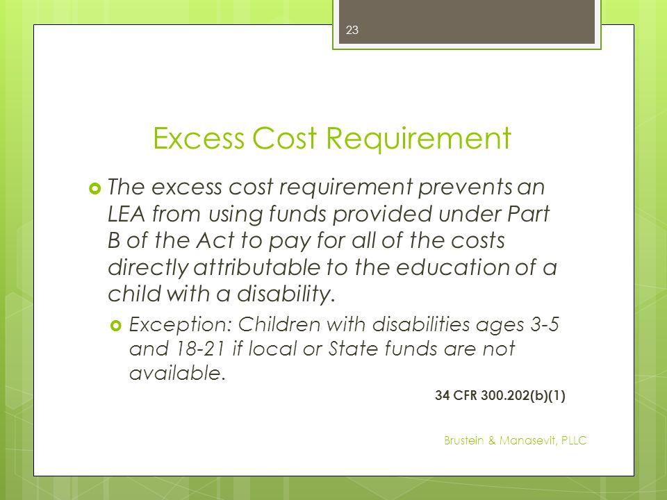 Excess Cost Requirement