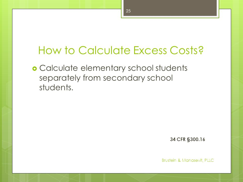 How to Calculate Excess Costs