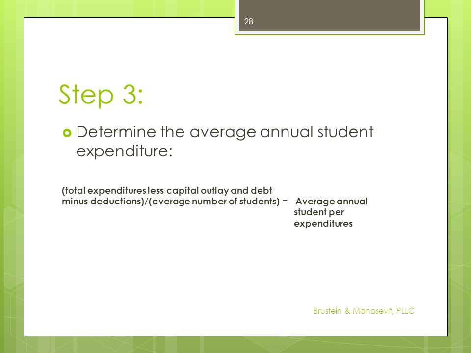 Step 3: Determine the average annual student expenditure: