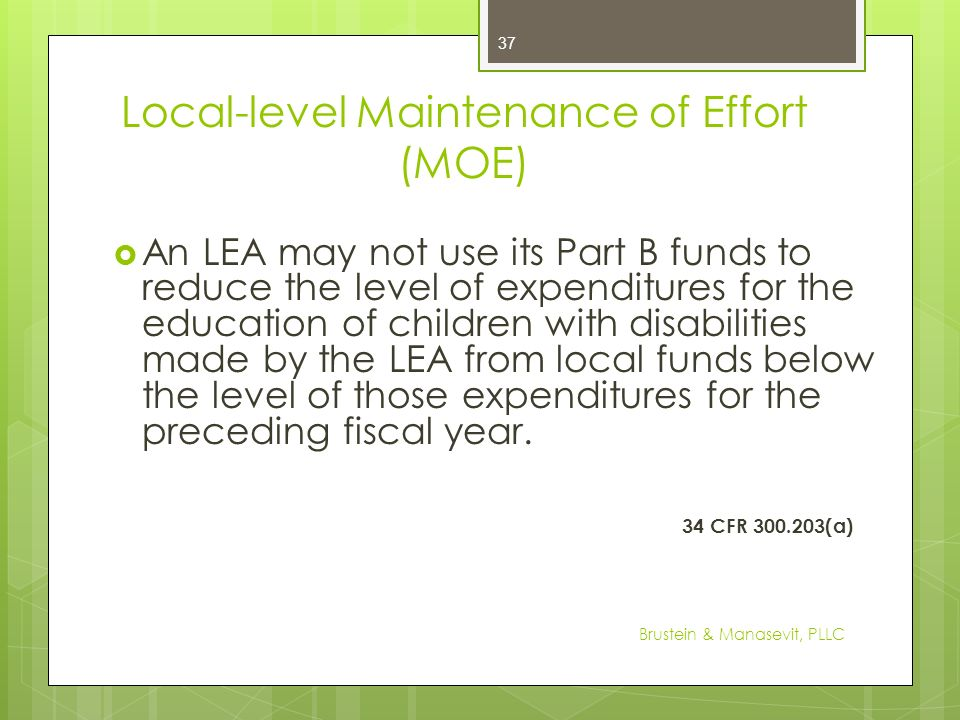Local-level Maintenance of Effort (MOE)