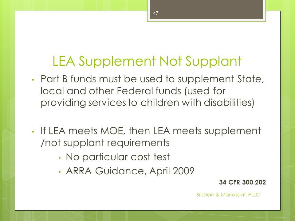LEA Supplement Not Supplant