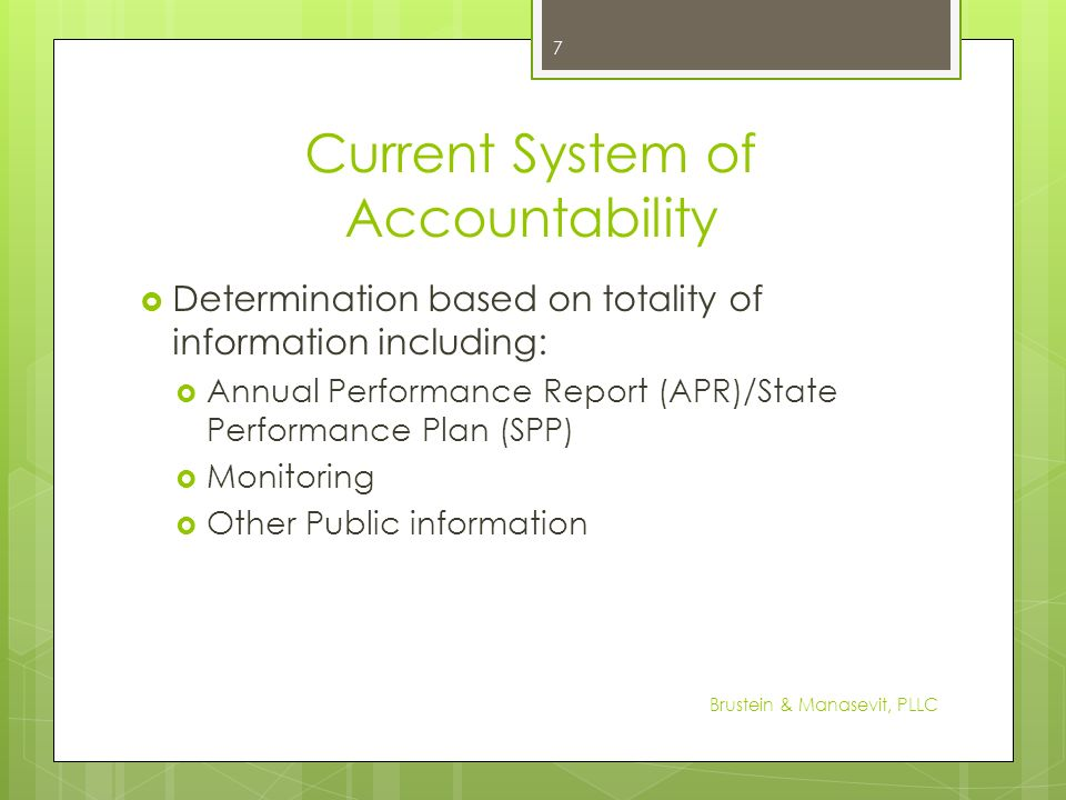 Current System of Accountability