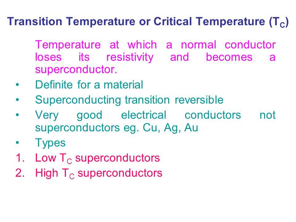 Transition Temperature or Critical Temperature (TC)