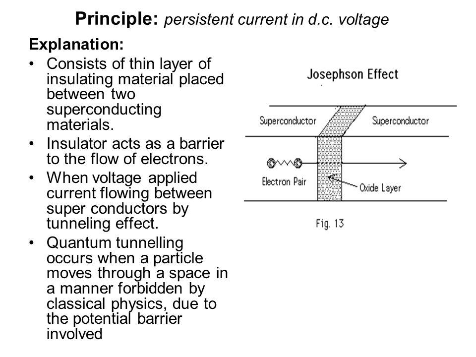 Principle: persistent current in d.c. voltage