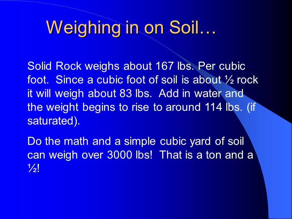 Weighing in on Soil…