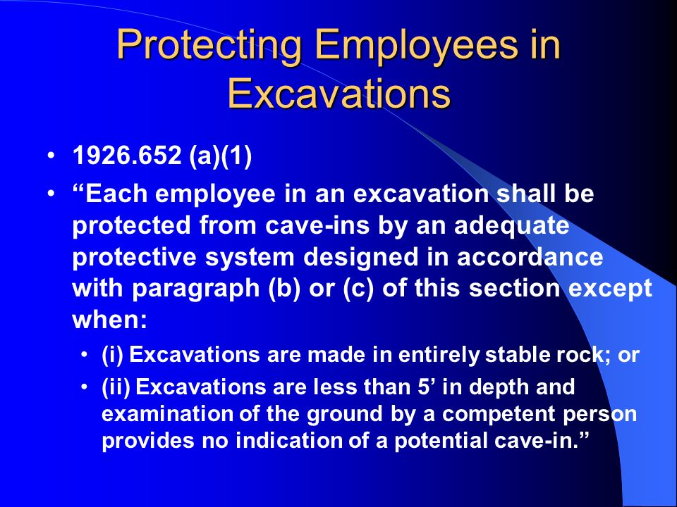 Protecting Employees in Excavations