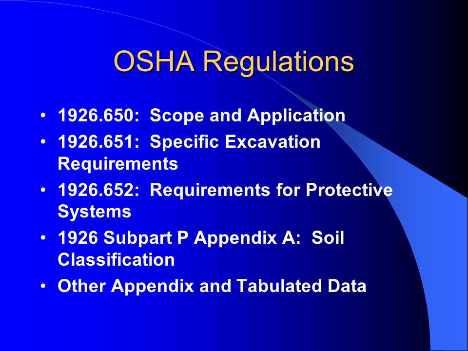 OSHA Regulations : Scope and Application