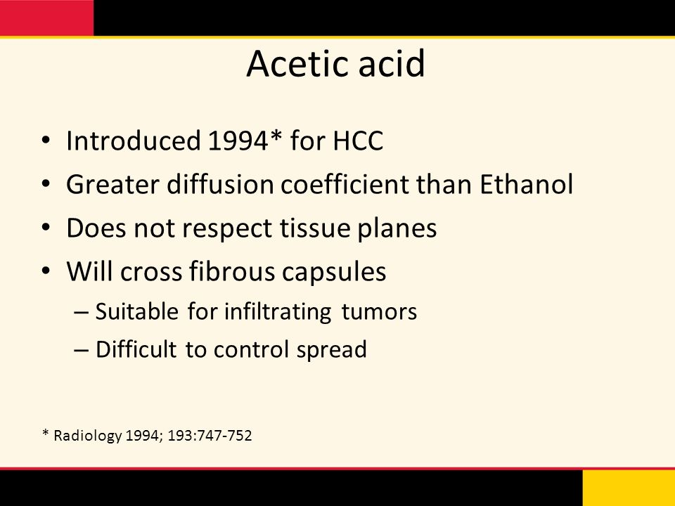 Acetic acid Introduced 1994* for HCC