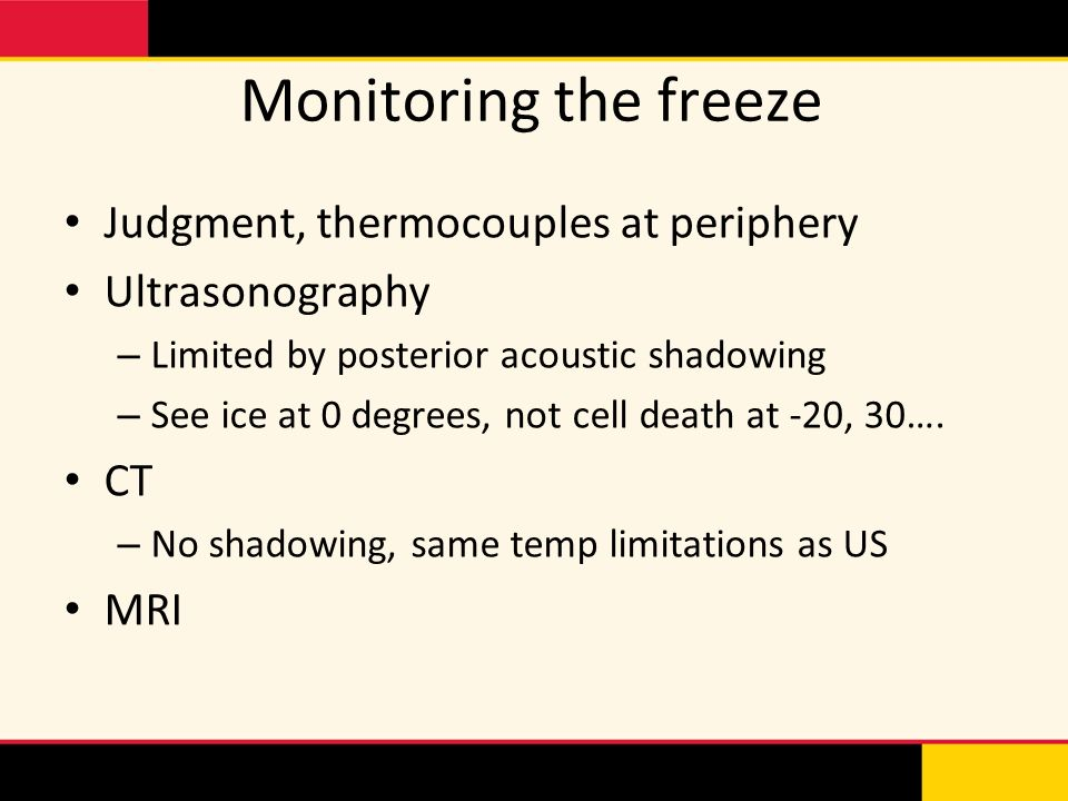 Monitoring the freeze Judgment, thermocouples at periphery