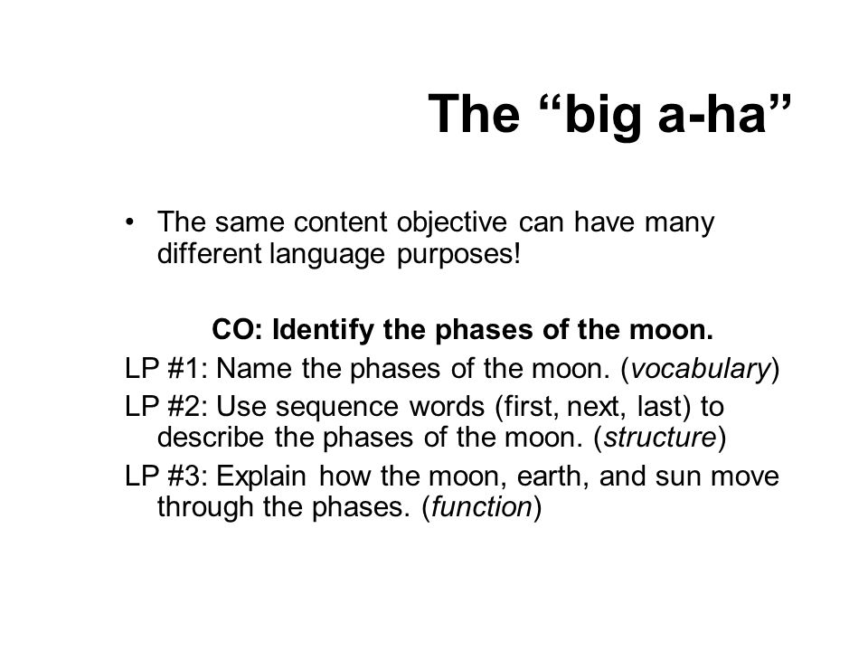 CO: Identify the phases of the moon.