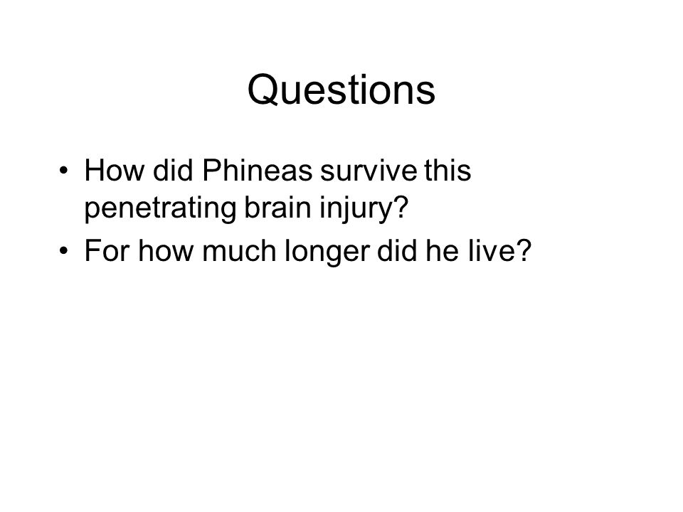 Questions How did Phineas survive this penetrating brain injury