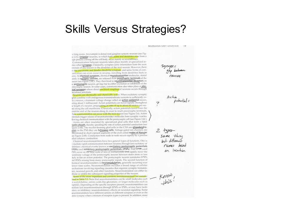 Skills Versus Strategies