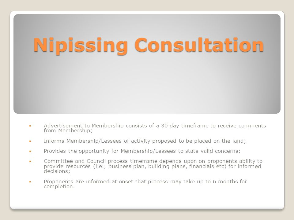 Nipissing Consultation