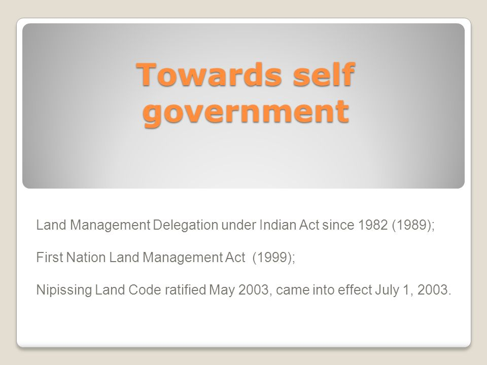 Towards self government