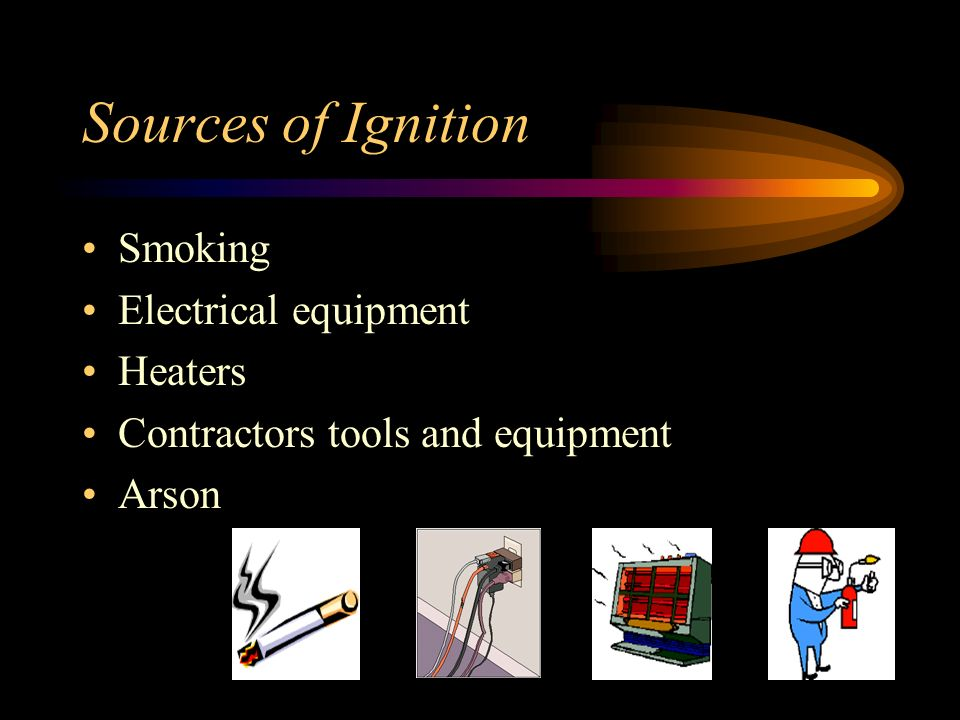 Sources of Ignition Smoking Electrical equipment Heaters