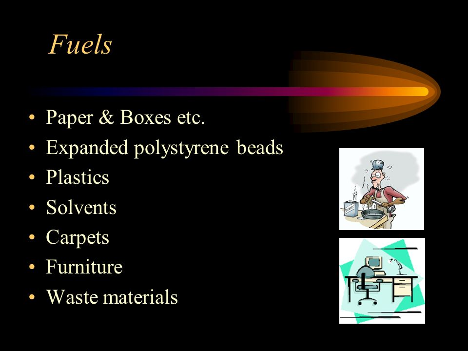 Fuels Paper & Boxes etc. Expanded polystyrene beads Plastics Solvents