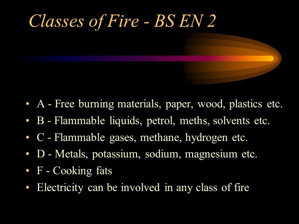 Classes of Fire - BS EN 2A - Free burning materials, paper, wood, plastics etc. B - Flammable liquids, petrol, meths, solvents etc.