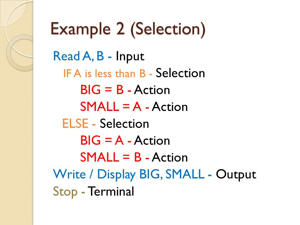 Example 2 (Selection) Read A, B - Input BIG = B - Action