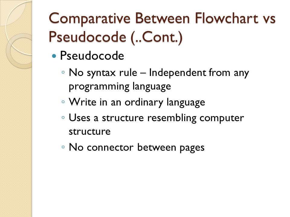 Comparative Between Flowchart vs Pseudocode (..Cont.)