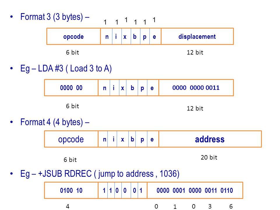 Eg – +JSUB RDREC ( jump to address , 1036)