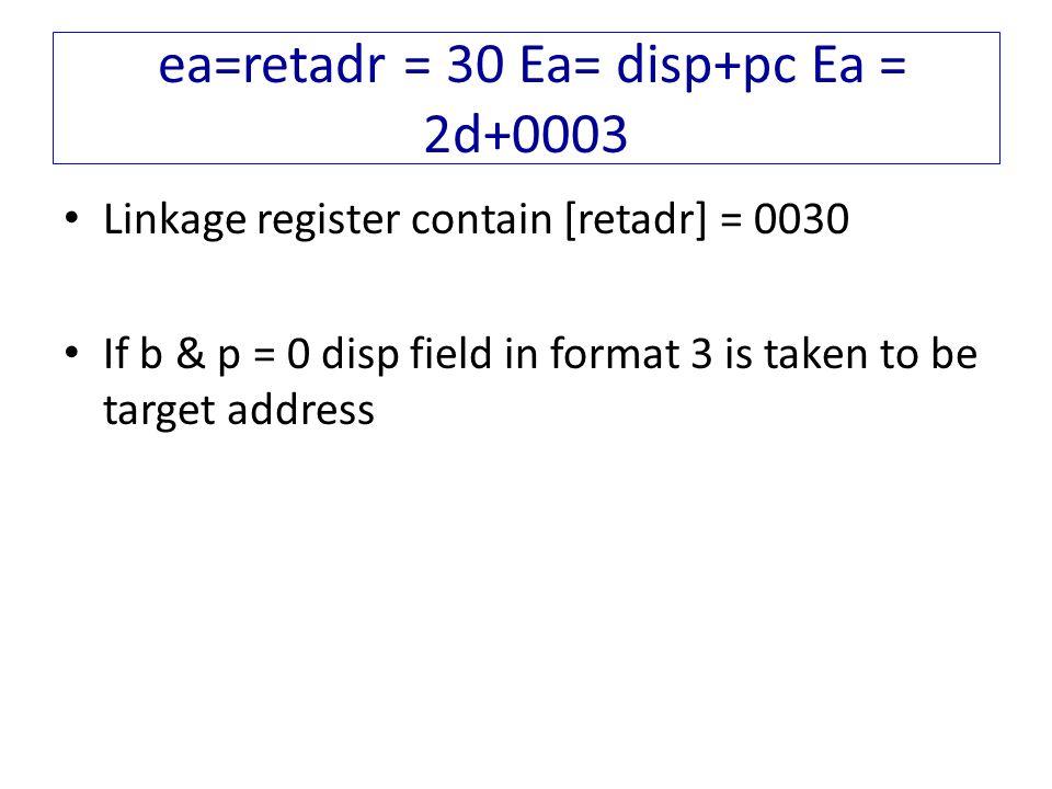 ea=retadr = 30 Ea= disp+pc Ea = 2d+0003